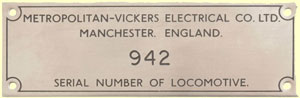 click for 8K .jpg image of Metrovick makers plate