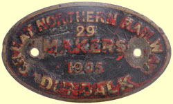 click for 13K .jpg image of GNR makers' plate