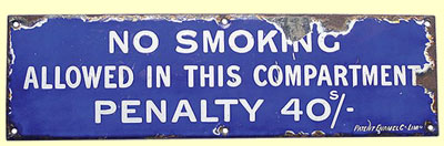 click for 11K .jpg image of GNR no smoking sign