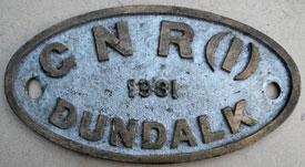 click for 16K .jpg image of GNR(I) Dundalk worksplate 1931