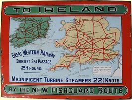 click for 20K .jpg image of GWR Ireland enamel