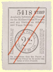 click for 12k .jpg image of MGWR parcel stamp