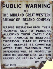 click for 19K .jpg image of MGWR enamel trespass