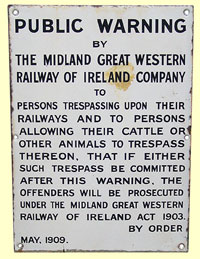 click for 23K .jpg image of MGWR enamel trespass