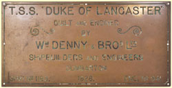 click for 9K .jpg image of Duke of Lancaster makers' plate
